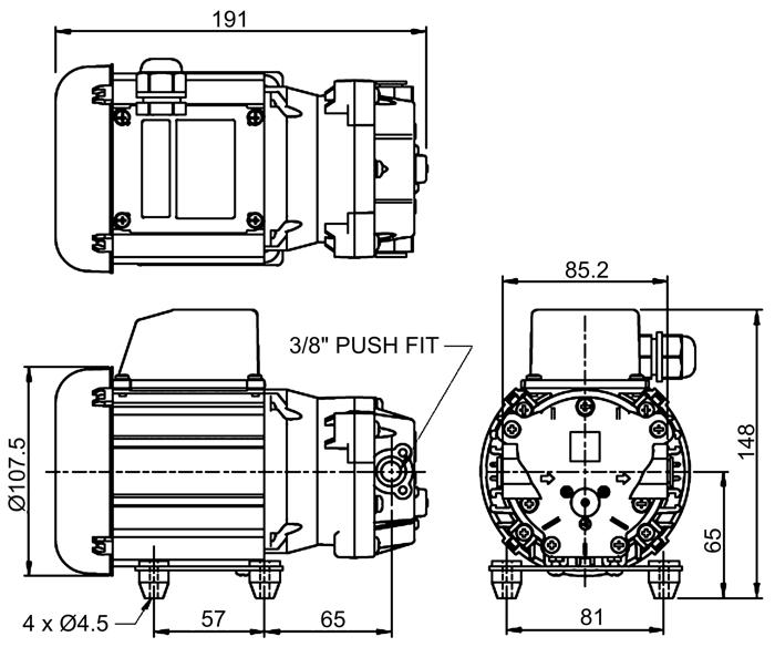flojet 416912 multi chamber diaphragm pump 230v 1 50. Black Bedroom Furniture Sets. Home Design Ideas